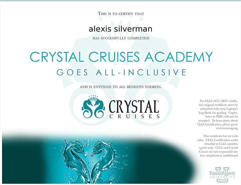 Crystal Cruises Academy training