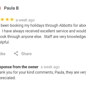 """""""I have been booking my holidays through Abbotts for about 10 years"""" - Paula"""
