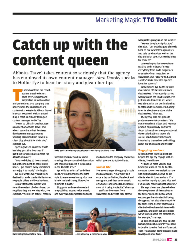 Catch up with the content queen, TTG Magazine