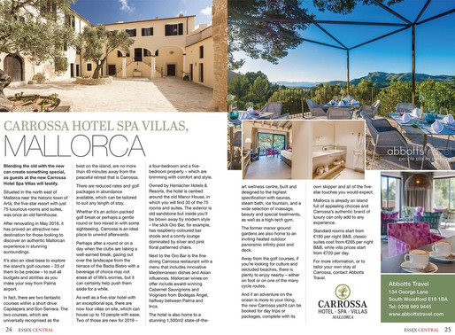 Carrossa Hotel Spa Villas, Mallorca, Essex Central Magazine - September 2019