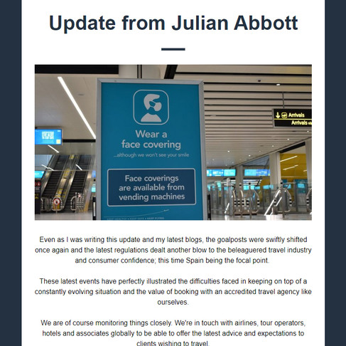 Update from Julian Abbott