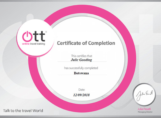 Julie Gooding has completed the Botswana online travel training programme
