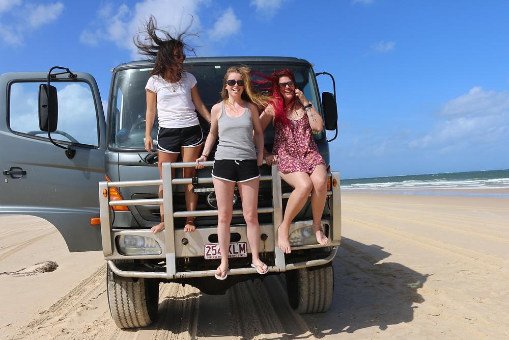 Hollie, Maeve and Kirstie on Fraser Island