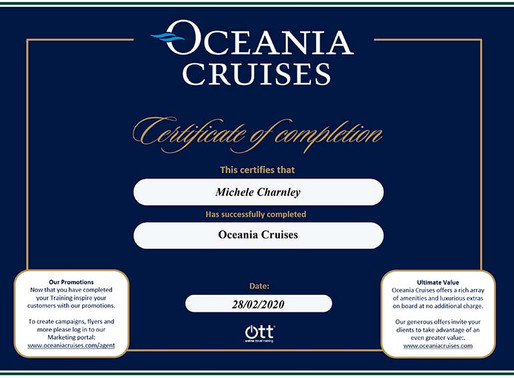 Shelley Charnley has completed the Oceania Cruises online travel training