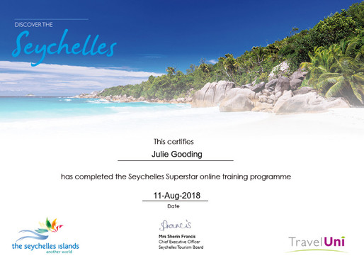 Julie Gooding has completed the Seychelles Superstar online training programme