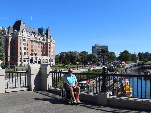 Roger pictured on the Fairmont Empress waterfront, Vancouver Island
