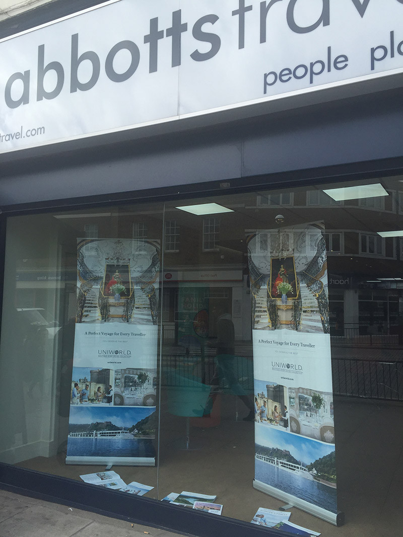 Uniworld window display at Abbotts Travel