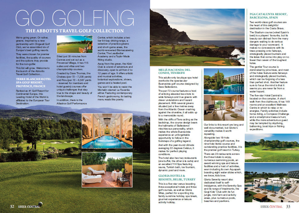 The Abbotts Travel Golf Collection, Essex Central Magazine