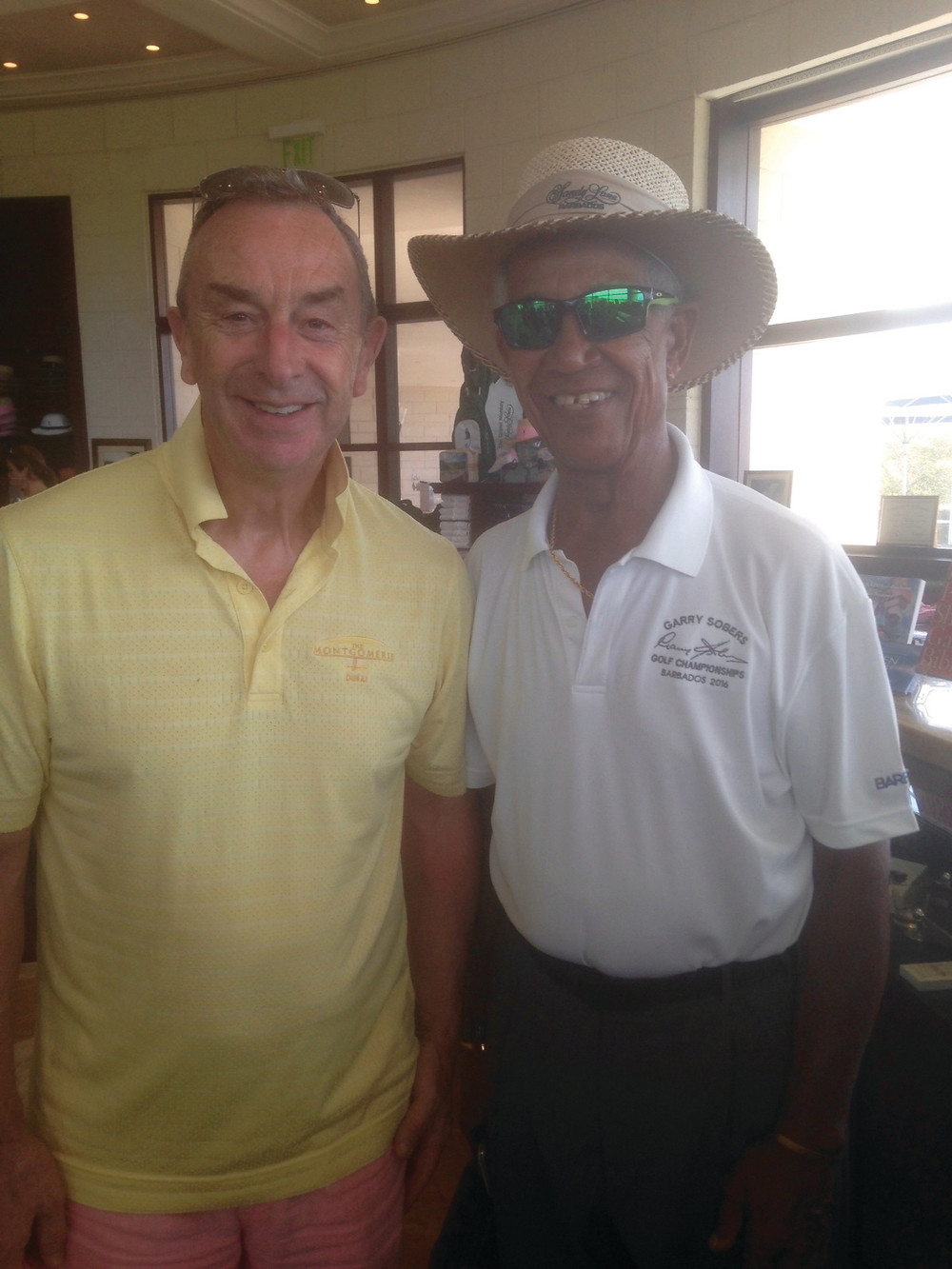 David Lloyd with Garry Sobers at Sandy Lane