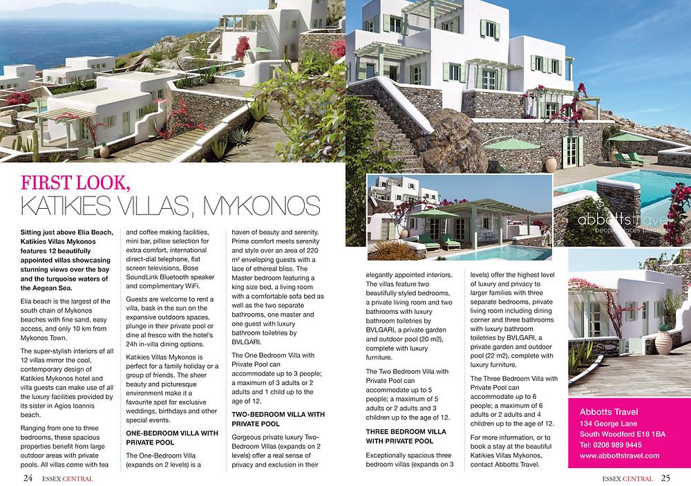 Katikies Villas, Essex Central Magazine