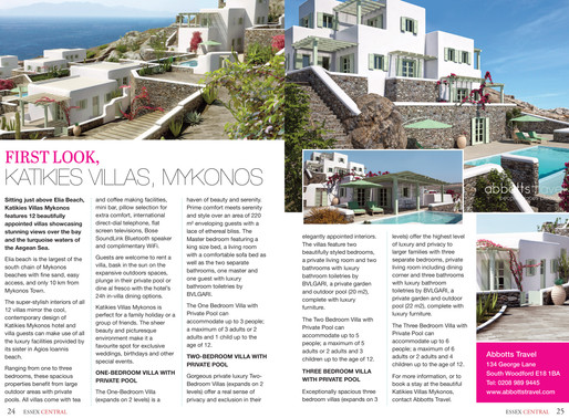 First Look: Katikies Villas, Mykonos, Essex Central Magazine - October 2019
