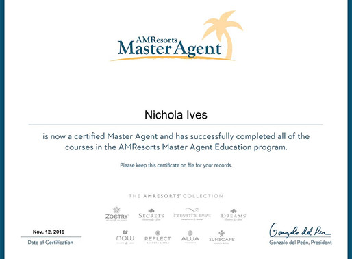 Nicky Ives has completed the AMResorts Master Agent Education programme