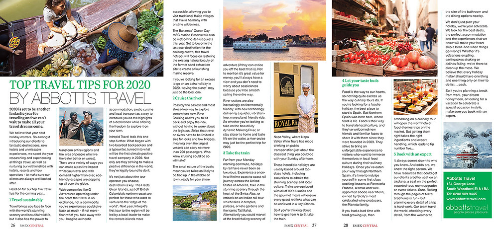 Top Travel Tips for 2020, Essex Central Magazine