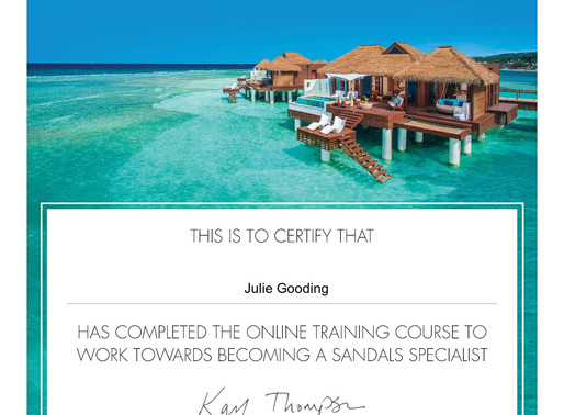 Julie Gooding is working towards becoming a Sandals Specialist