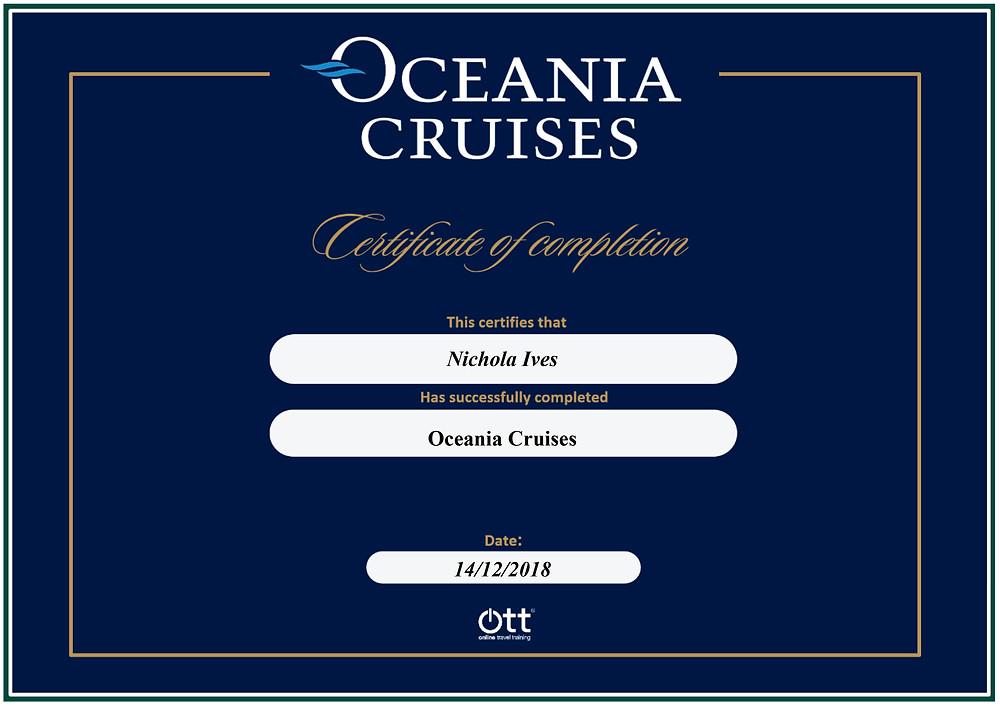 Oceania Cruises online travel training