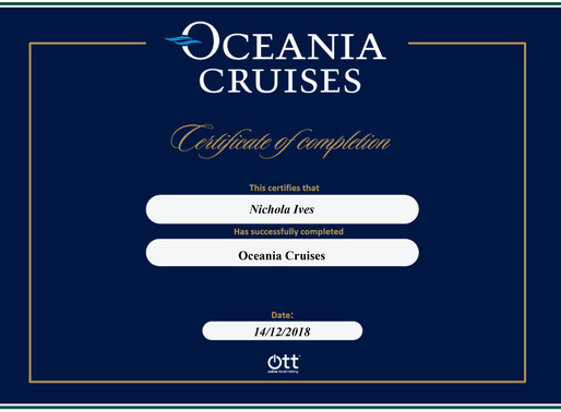 Nicky Ives has completed the Oceania Cruises online training programme