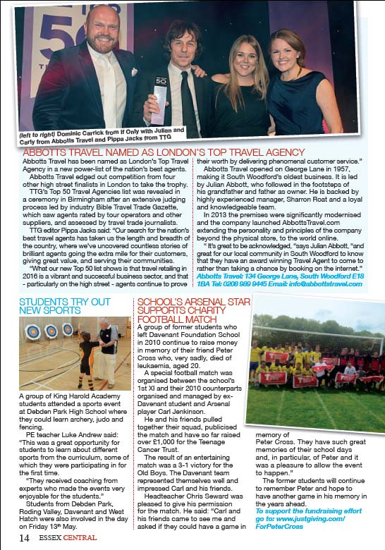 Abbotts Travel named as London's Top Travel Agency, Essex Central Magazine