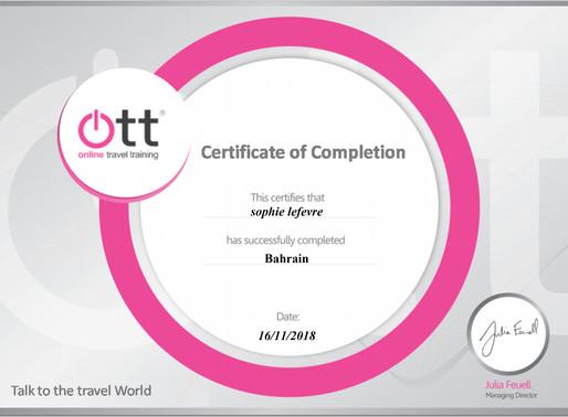 Sophie LeFevre has completed the Bahrain online training programme