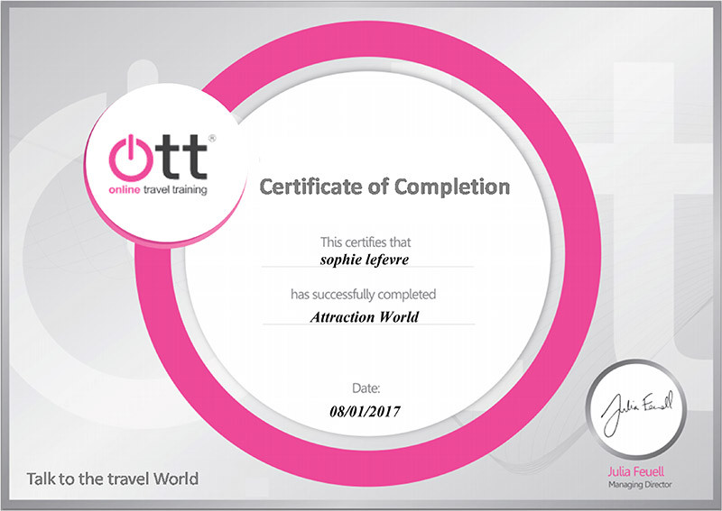 Online Travel Training course for Attraction World