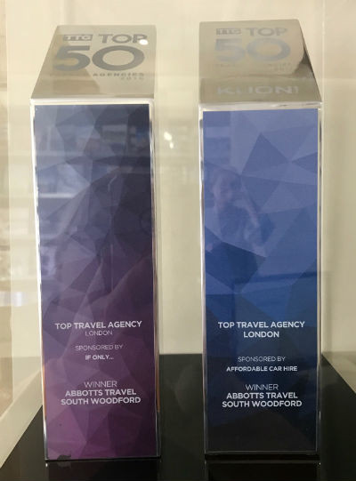 TTG Top 50 trophies for best London agency 2016 and 2017.