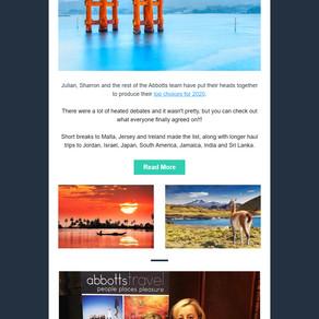 Abbotts Travel Newsletter - The Team's Top Destinations for 2020
