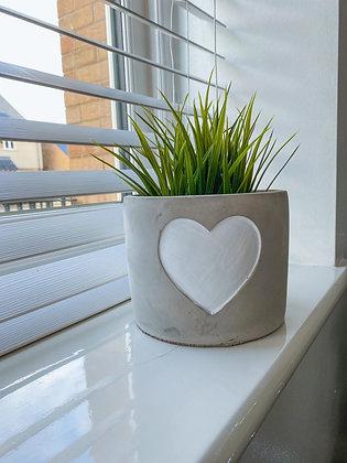 White Heart Planter