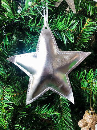 Silver Fabric Hanging Star