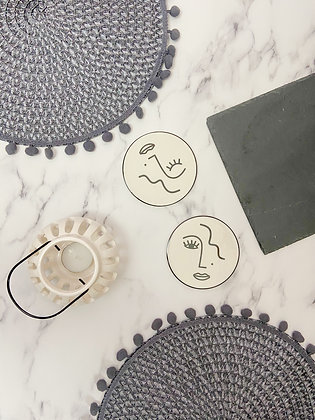 Monochrome Face Coasters