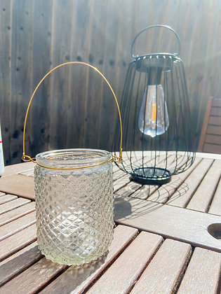 Grey Glass Candle Holder