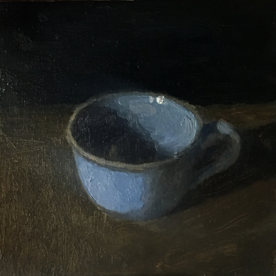 Study of a blue teacup