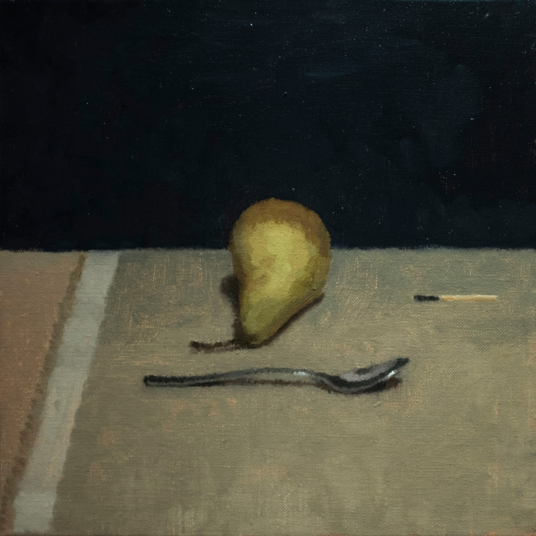 Pear and spoon
