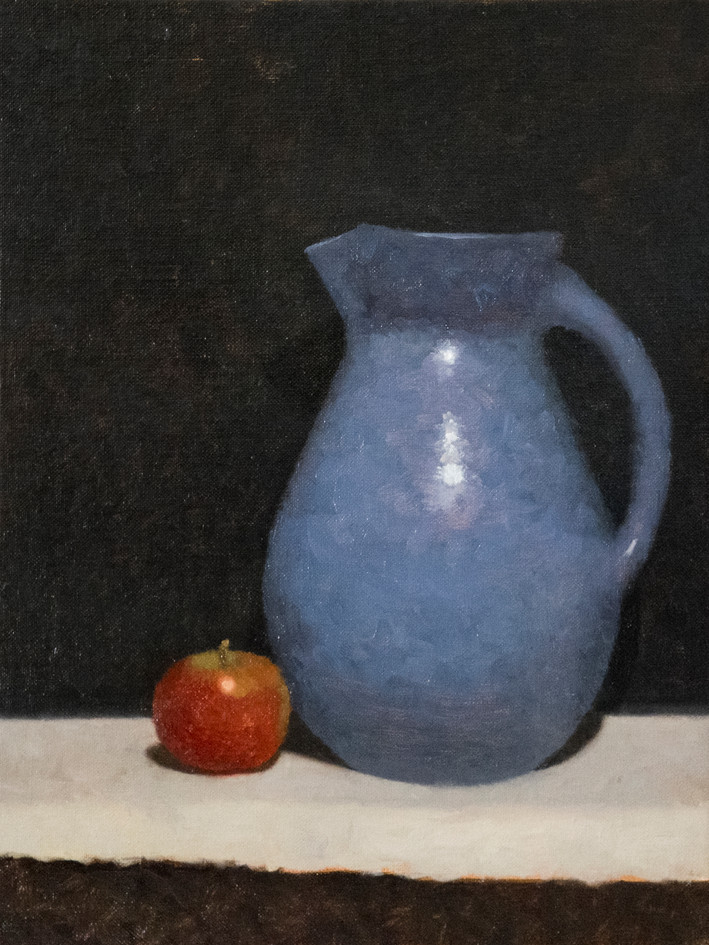 Blue jug and apple