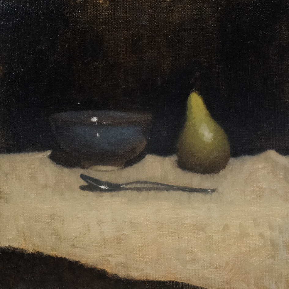 Bowl, pear and spoon