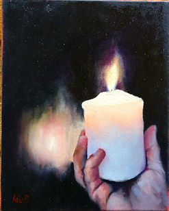 Original artwork. Oil painting. Figurative contemporary painting. Buy original artwork online. Painting of hand holding candle, atmospheric, spiritual art. Dark background. Realistic painting. Surreal.