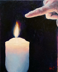 Original artwork. Oil painting. Figurative contemporary painting. Buy original art online. Painting of hand holding candle, atmospheric, spiritual art. Dark background. Realistic painting. Surreal.