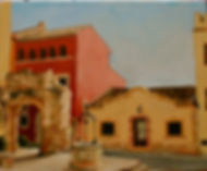 Urban landscape art painting, realistic , landscape in oil, cityscape, painting Spanish village