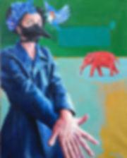 Figurative Paintings Woman Blue coat Bluebird