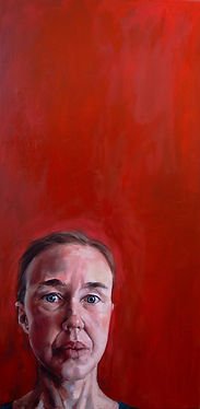 portrait, portrait artist of the year, oil painting, red background, comtemporary painting, Inge du Plessis , self portrait
