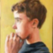 Portrit boy. OIl on Cavas. Contemporary portraiture. Child Portrait. Portraitpaitg. Figurative painting. Inge du Plessis