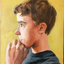 Portrait boy aged 12. Oil on Cavas. Contemporary portraiture. Child Portrait. Portraitpaitg. Figurative painting. Inge du Plessis