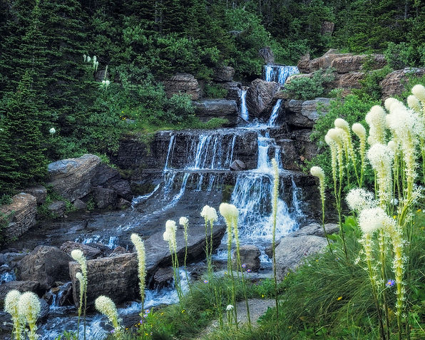 Beargrass Waterfall Glacier National Park montana landscape photography by Scott Wheeler