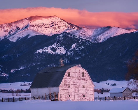 white barn and Bridger Mountains landscape photography by Scott Wheeler