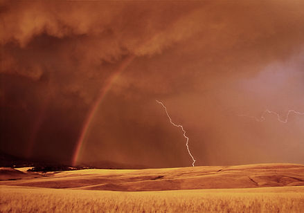 Storm Rainbow Lightning Sunset Landscape Photography Montana by Scott Wheeler