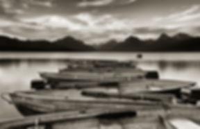 Boats on Lake McDonald Montana photography by Scott Wheeler