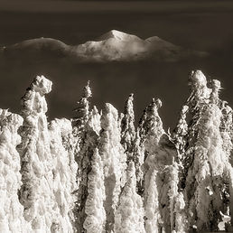 snow ghost trees on two top mountain in montana, landscape photography