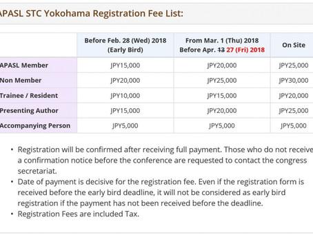 Until Friday April 27, 2018, APASL STC Yokohama Pre-Registration is available