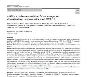 APASL practical recommendations for the management of hepatocellular carcinoma in the era of COVID-1