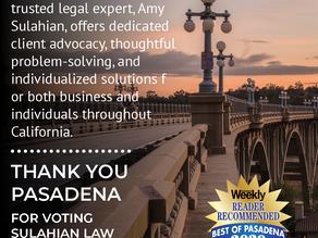 """Pasadena Weekly """"Reader Choice"""" 2020"""