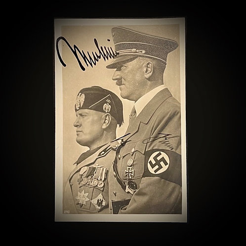 Mussolini and Hitler postcard