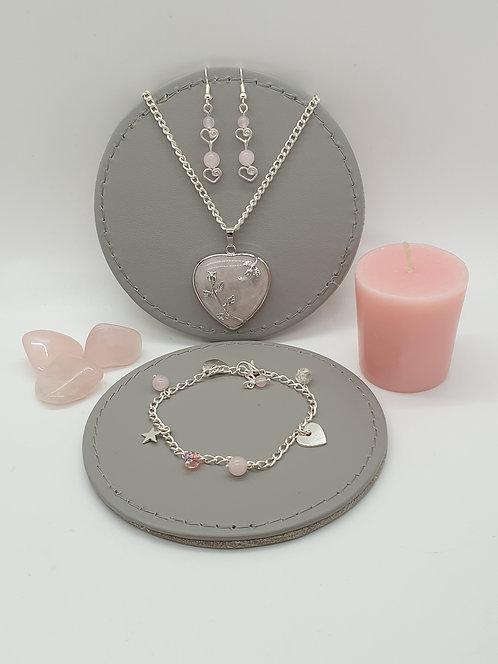 Valentines Rose Quartz Heart Set